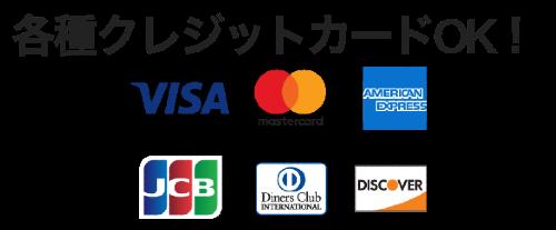 クレジットカードOK VISA・MasterCard・American Express対応